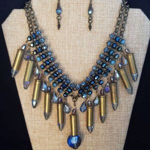 Bullets, Crystals & Bling Necklace & Earrings.